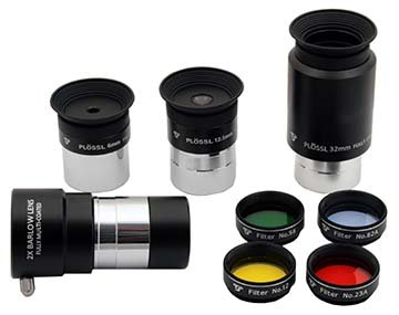 TS Optics Eyepiece 3 Plössl + 1 Achromatic Barlow Lens 2X + 4 Contrast Filters 1.25 inch (31.7 mm) Complete Set for telescopes, TSECase