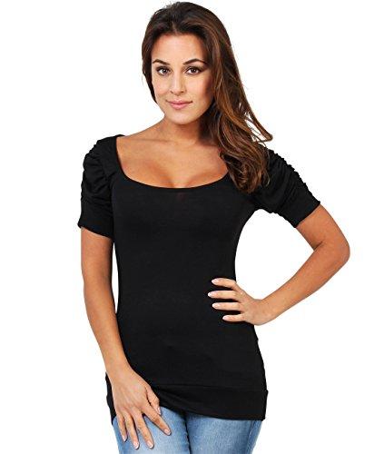 3900-BLK-20: Schlichtes T-Shirt mit Raffung an den Armen (Schwarz, Gr.48) (T-shirt Blk-schwarz)
