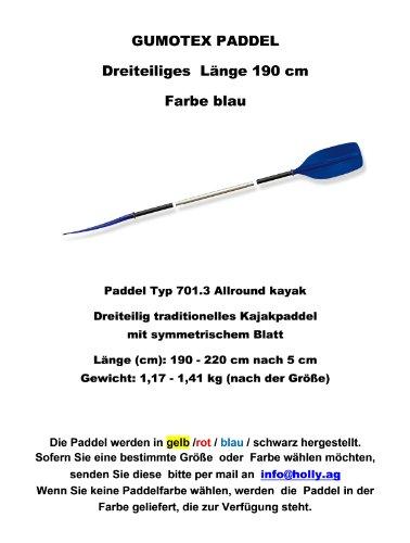 Remo Tipo 701.3Allround Kayak Descripción del producto Tres piezas Kayak tradicional con hojas de longitud (cm): 190-220cm después de 5cm Peso: 1,17-1,41kg (según el tamaño) remo disponibles colores: azul-amarillo-rojo-negro