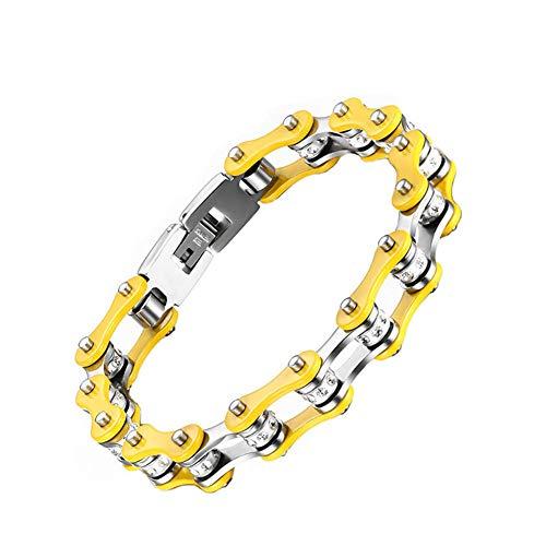 Aruie bracciale da uomo donna in acciaio con strass diamante simulato catena di bicicletta moto giallo argento bicolore motociclista biker catena di mano gioielli regalo