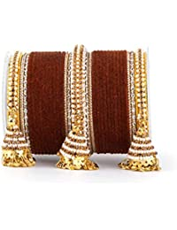be88755a58e2ba Set of 62 Velvet and Beaded Bangle Set with Jhumki for Both Hands by Leshya