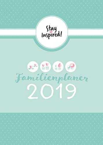 Familienplaner 2019 Hardcover mit 5 Spalten für bis zu 5 Personen in DIN A5. Familienkalender 2019 mit Extra-Seiten für viel Platz zur Essensplanung, ... Stundenplan, Feiertage, Schulferien,