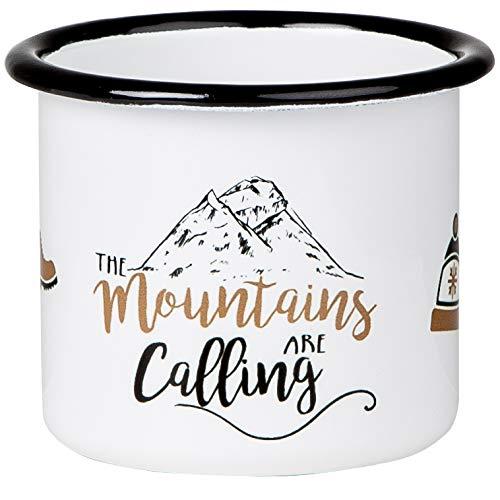 Mountains Are Calling - Hochwertige Emaille Tasse mit Outdoor Design, leicht und bruchsicher, für Camping und Trekking - von MUGSY.de