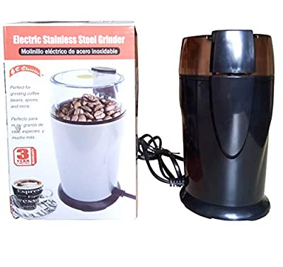 Powerful Bl Classics Electric Coffee Spices Grinder 130W - Transparent Top Lid - Safety Lock …