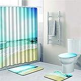 Duschvorhang + Türmatte + Toiletten Deckel + Fußmatte Ozean Landschaft Bad Rutschfeste Feuchtigkeitsaufnahme Vier Teiliges Set,G