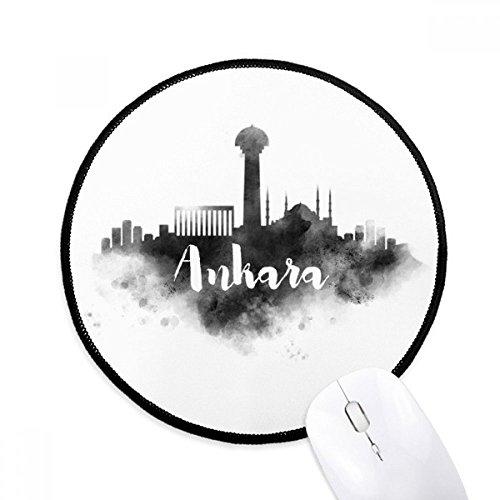 Ankara Türkei (DIYthinker Ankara Türkei Zeichen Ink Stadt Malerei Runde Griffige Mousepads Schwarz Titched Kanten Spiel Büro-Geschenk)