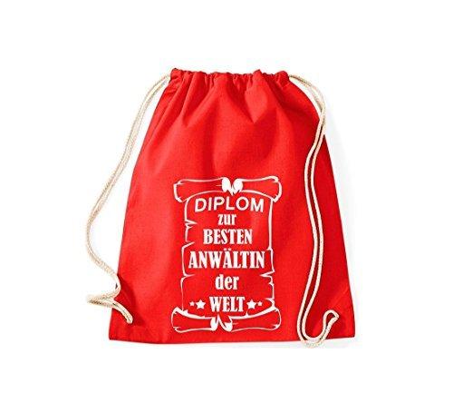 Shirtstown Borse palestra Diploma per migliore Anwältin mondo - rosa, 37 cm x 46 cm rosso
