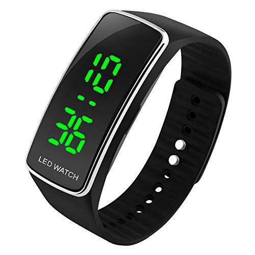 UEOTO Kinder und Jugendliche Digital Uhr mit Plastik Armband 30m Wasserdicht LED Sport Kinderuhren für Jungen Mädchen Schwarz