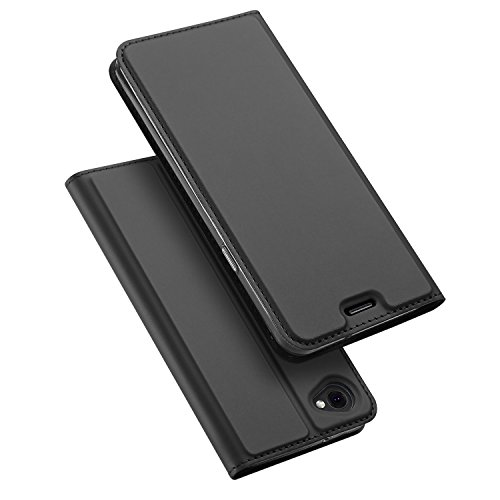 LG Q6 Hülle, DUX DUCIS Skin Pro Series Ultra Slim Layered Dandy, Ständer, Magnetverschluss,TPU Bumper, Full Body Schutz für LG Q6 (Grau) (Kabel Guard Folie)