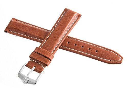 Tag Heuer braun Leder weiß Stiche mit Silber Schnalle Uhrenarmband 18mm