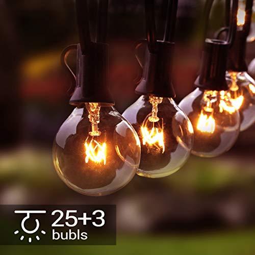 Lichterkette Außen, 28er G40 Lichterkette Glühbirne 9.5M/31FT Wasserdichte String Licht Garten Lichterkette für Innen Draussen, Party, Festival -