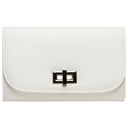 CASPAR TA389 elegante Damen Envelope Clutch Tasche / Abendtasche mit langer Kette und Drehverschluss, Farbe:weiss;Größe:One Size
