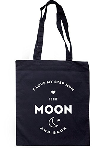 Breadandbutterthreads i Love My step MUM to the moon and back Tote 37.5cm x 42cm con manici lunghi Navy