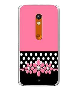 PrintVisa Designer Back Case Cover for Motorola Moto X Play (Black Polka Dots Flowery Flowers )