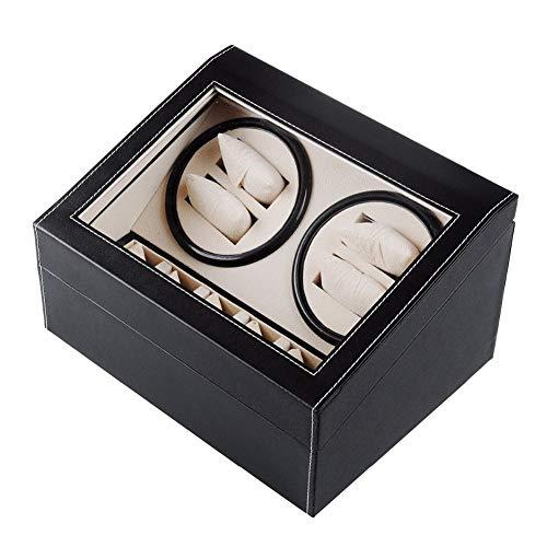 L.HPT 4+6 Uhrenbeweger für Automatikuhren Leise,4 Uhren Batterie Holz Watch Winder 4 Box Motor Uhrenbox Uhrenboxen Uhrenaufbewahrung Uhrenkasten Uhrenvitrine Uhrenschatulle Schwarz