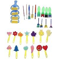 Sharplace 30er Set Mehrfarbig Strukturpinsel Schwamm Pinsel Stempel Kinder kreativ DIY Zeichnen Kinderpinsel Malpinsel Schwammbürsten DIY Handwerksprojekte zu machen