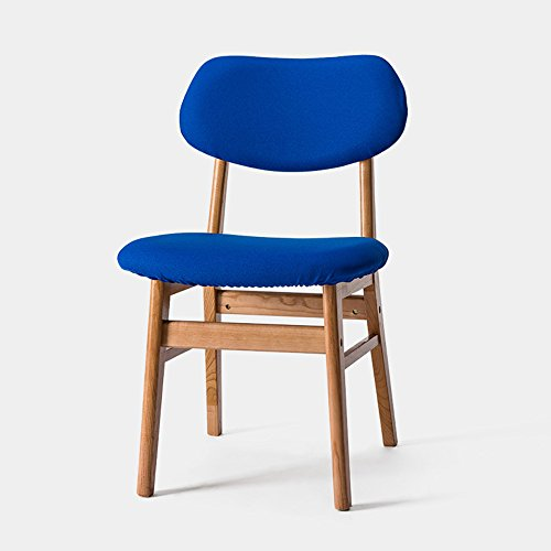 MAZHONG Hocker Massivholz Eiche Beine und Rahmen Esszimmerstuhl. Modernes Design gebogen Holz Rückenlehne und Sitz Vintage Lounge Küche Esszimmer Möbel (Farbe) ( Farbe : Blau )