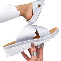 vap26 1 Pair Wedge Orthotic Outdoor Women Slipper Hollow Summer Artificial PU Indoor(40,Silver)
