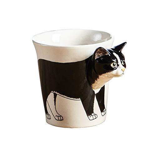 Katzen Tasse/Kaffee-Becher/Cat Mug/3D-Motiv/Keramik-Tasse-Katze schwarz weiss