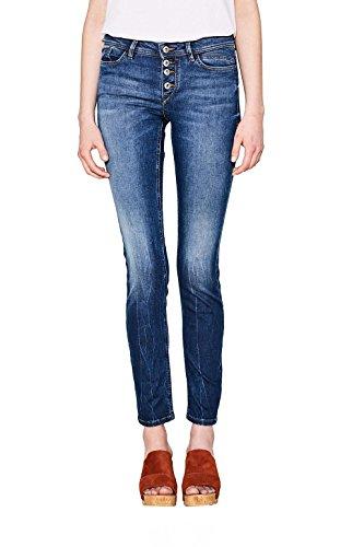 edc by ESPRIT Damen Slim Jeans 997CC1B815, Blau (Blue Dark Wash 901), W32/L30 (Knopf Jeans Baumwolle Ein)