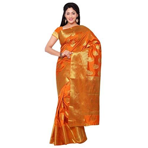Varkala Silk Sarees Women's Art Silk Banarasi Saree With Blouse Piece(ND1002OR_Orange_Free Size)
