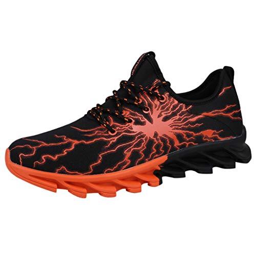 Lilicat Scarpe da Ginnastica Uomo Sportive Corsa Trail Running Sneakers Fitness Casual Basse Trekking Estive Running all'Aperto Scarpe da Corsa(Orange-A,37 EU)