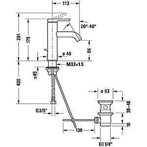 Duravit C11020001 – Grifo mezclador monomando para lavabo C.1, tamaño M, con cartucho cerámico, desagüe y conexiones…