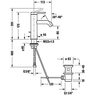 Duravit Mezclador monomando lavabo M Duravit C.1 con desagüe automático cromado
