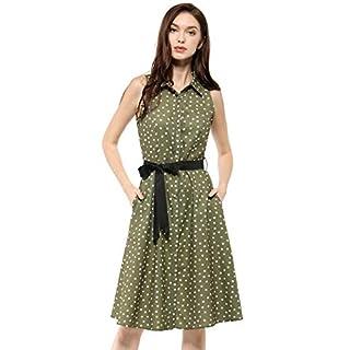 Allegra K Women's Sleeveless Polka Dot Midi Shirt Dress L Olive Green