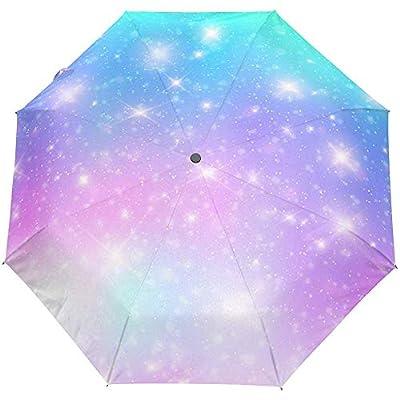 Rainbow Star Universe Space Auto Open Umbrella Sun Rain Umbrella Anti UV Folding Compact Automatic Umbrella