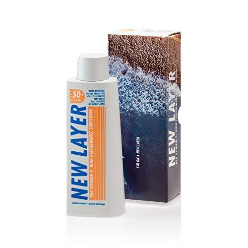 NEW LAYER Sonnencreme | LSF 50+ | Pro Vitamin D | Frei von Mikroplastik | Reef-friendly | Frei von Octocrylenen | Wasserfest (200ml)