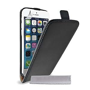 Caseflex Coque iPhone 6 Etui Noir Réel Véritable Cuir Clapet Housse