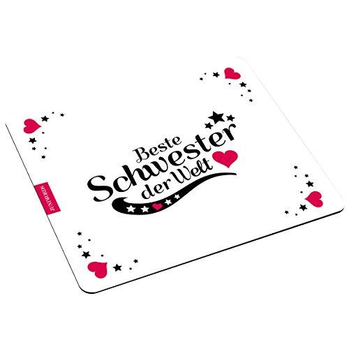 """Wandkings Mousepad / Mauspad mit Schriftzug """"Beste Schwester der Welt"""" – ideales Geschenk für Schwestern"""
