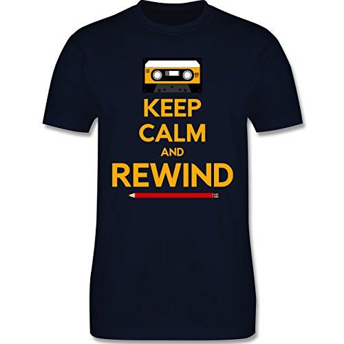 Music - keep calm and rewind - L190 Herren Premium Rundhals T-Shirt Navy Blau