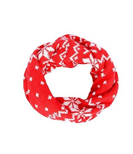 ZUMUii Butterme Mode Jungen Mädchen Baby Kind Herbst Winter warme Knit Unendlichkeit Neck Warmer Kreis Loop Schal mit Schnee gedruckt Weihnachtsgeschenk (Rot) (Damen Winter Unendlichkeit Schal)