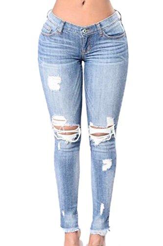 Les Femmes Ont En Jeans, Trou De Jambières Pantalon Extensible blue