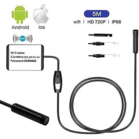 Uvistar - WiFi a 5M endoscopio del animascopio de la cámara de inspección, cámara impermeable IP66 LED 720P HD portátil de inspección de serpiente para el videoscopio Inspección Apoyo iOS y Android con la función USB OTG, 9mm