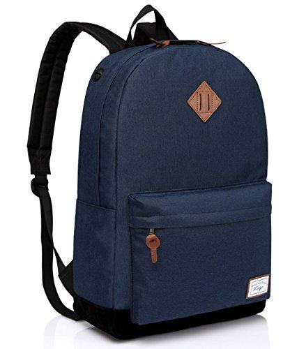 Schulrucksack Jungen, Kasgo Classic Schultasche mit Gepolstertem 15.6 Zoll Laptopfach Rucksack Jugendliche Marineblau