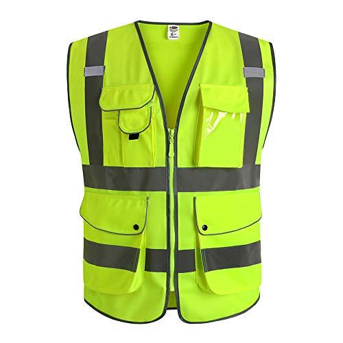 JKSafety Neun Taschen Unisex Hohe Sichtbarkeit Warnweste Reflektierende Weste Reißverschluss EN ISO 20471 Gelb (3X-Large) ... (5 Mit Reißverschluss Taschen)