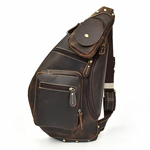 LUUFAN Herren Echtes Leder Sling Bag Brusttasche Cross Body Bag Cross Durable Schulter Rucksack (Dark Brown)