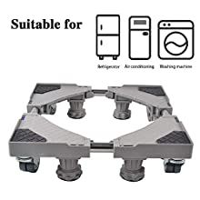 SMONTER Multifunzionale base mobile regolabile, universale, per asciugatrice, lavatrice e frigorifero, 4 piedi+4 ruote, grigio