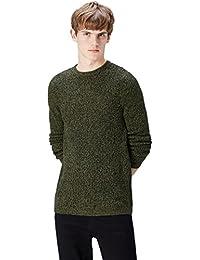 Amazon-Marke: find. Pullover Herren melierter Grobstrick runder Ausschnitt