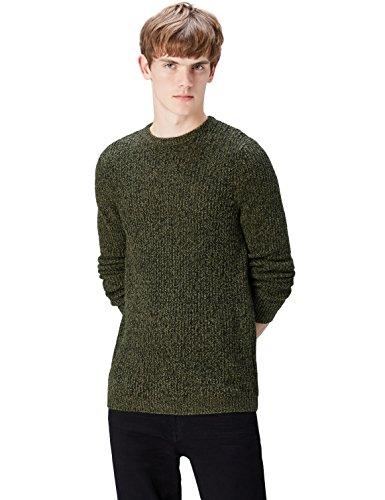 FIND Pullover Herren melierter Grobstrick runder Ausschnitt Grün (Khaki Twist)