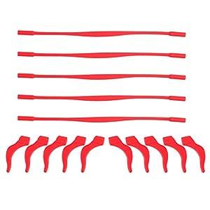 healifty Silikon Rutschfest für Brille und Haken für Block Headset Kit elastischer Silikon-Brille für Stopper für Kinder 5Set (rot)