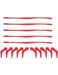 rosenice 5conjuntos de elástica antideslizante silicona Kids niños de gafas retenedor soporte para gafas, diseño de diadema gafas de sol soporte para cable de correa y antideslizante templo consejos oído gancho con transparente funda (azul oscuro), color rosso, tamaño M