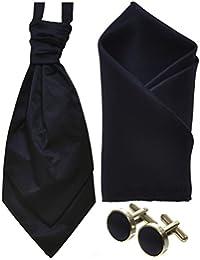 Mens Silky Satin Cravat Handkerchief / Pocket Square & Cufflinks Sets *UK Seller*