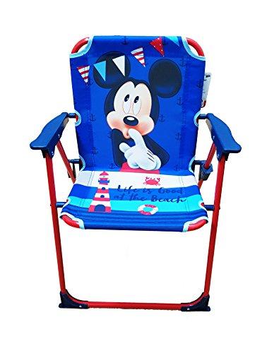 Takestop® silla plegable Mickey Mickey Ratón Disney azul rojo para niños infantil niño Camping dormitorio Mar Playa Jardín de Metal y Plástico con reposabrazos portátil estructura ligera 53x 38x 39cm