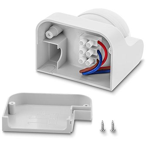 deleyCON PREMIUM Infrarot Bewegungsmelder – für Innen- und Außenbereich – 180° Arbeitsfeld – Reichweite bis 12m – einstellbarer Erfassungsbereich – IP44 Schutzklasse – Spritzwasser geschützt – Weiß - 2
