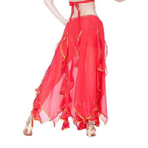 YuanDian Damen Chiffon Lang Bauchtanz Rock Lotus Blätter Gold Draht Seiten Elastische Taille Professionelle Arabische Oriental Belly Dance Performance Perspektive Röcke Kostüm - Kostüm Tänzerin Orientale Anlass