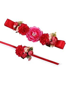 17YEARS - Cinturón de flores precioso, cinturilla y brazalete florales para vestidos de novia, tela, Rojo, talla...